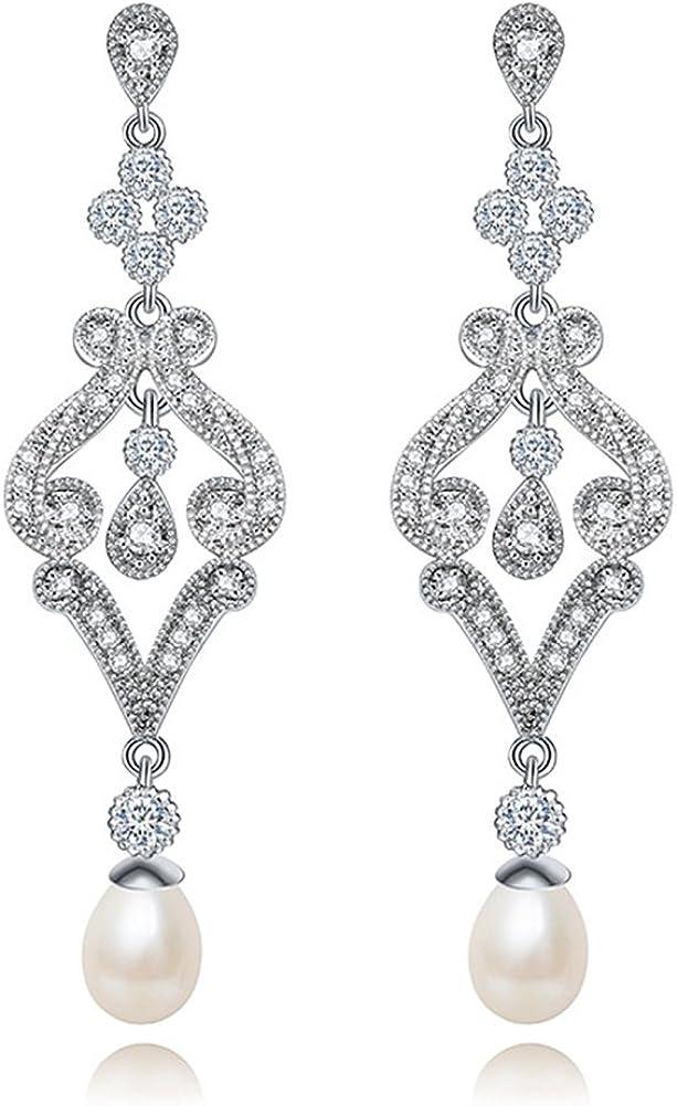 Hanie–Pendientes de perlas, largos, de plata, de flores, con circonitas, blancos, con cristales Swarovski Elements, para vestidos de noche, bodas.
