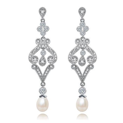 Hanie – Pendientes de perlas, largos, de plata, de flores, con circonitas