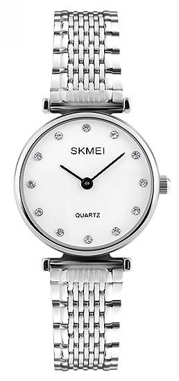 mastop Mujer Fashion correa de acero inoxidable resistente al agua reloj de cuarzo Carcasa reloj de mujer, brillantes Relojes Plata: Amazon.es: Relojes
