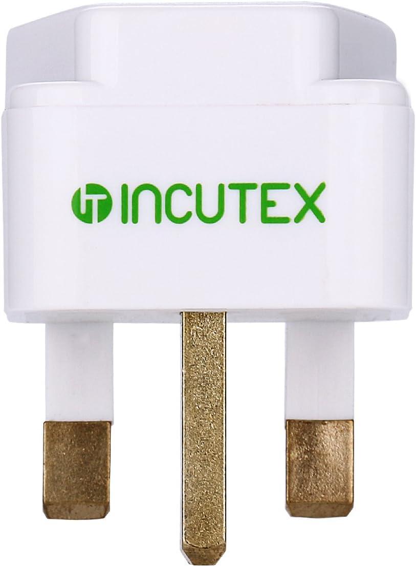 Incutex 1x adaptateurs universels de Voyage Noir connecteur International vers 3 Broches UK
