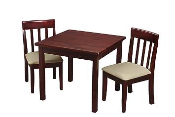 Amazon.com: Mesa cuadrada con 2 sillas a juego blanco ...