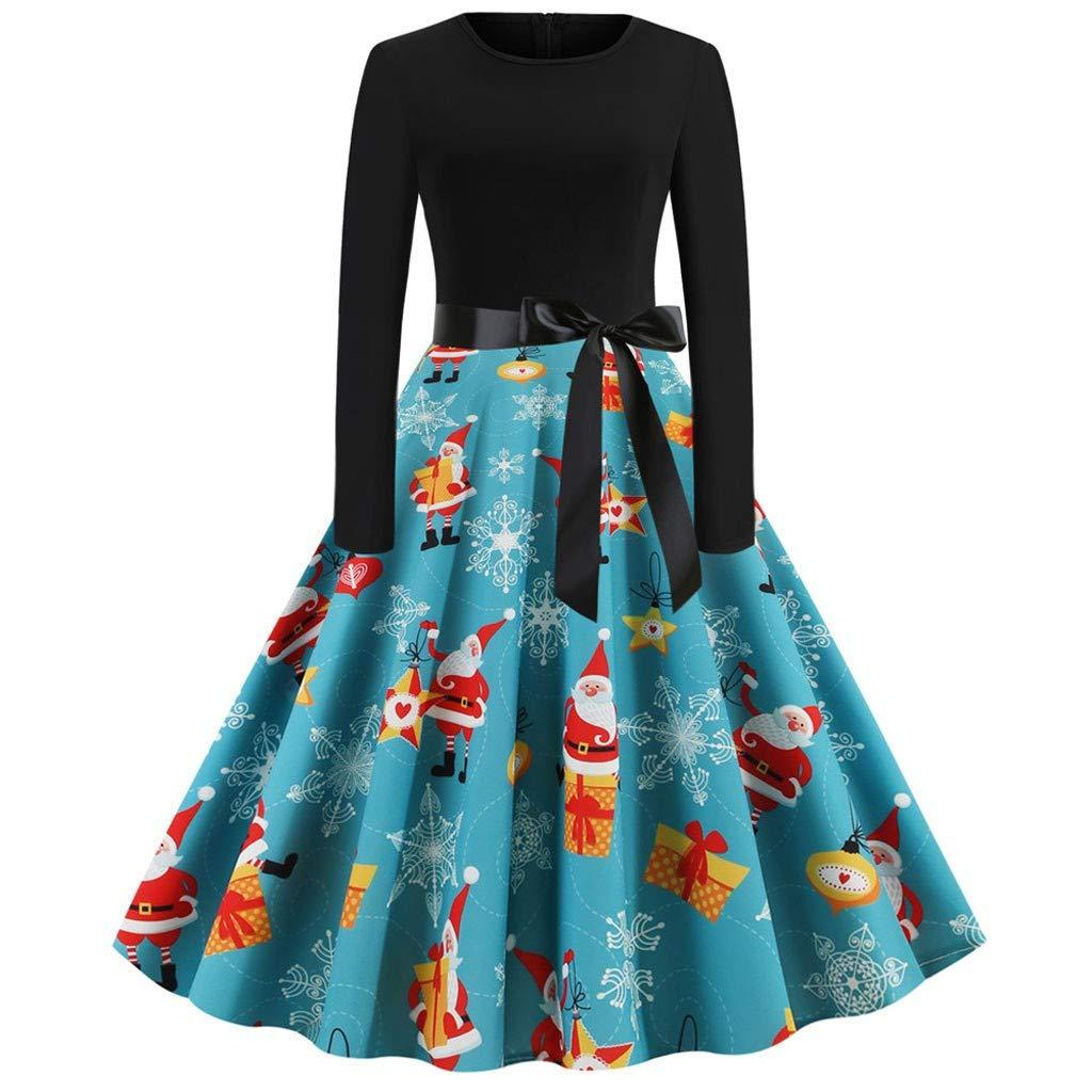 Aunimeifly Women Christmas Tree Print Vintage Long Sleeve Dresses Ladies Evening Xmas Party Prom Dress(2XL,Blue02) by Aunimeifly