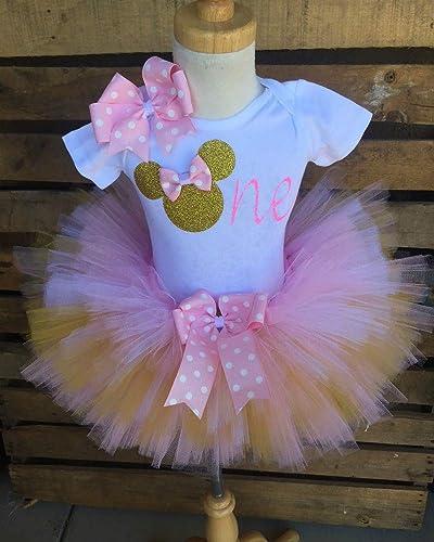 Amazon Com Minnie Mouse Birthday Tutu Outfit Set Dress Shirt First