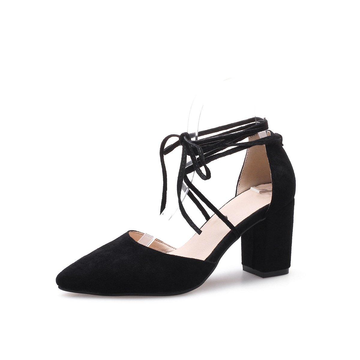 Unbekannt Damen Sandalen Spitzen Flachen Flachen Flachen Mund Dick mit Knöchelriemchen Reine Farbe High Heels Schwarz 39 d06a8c