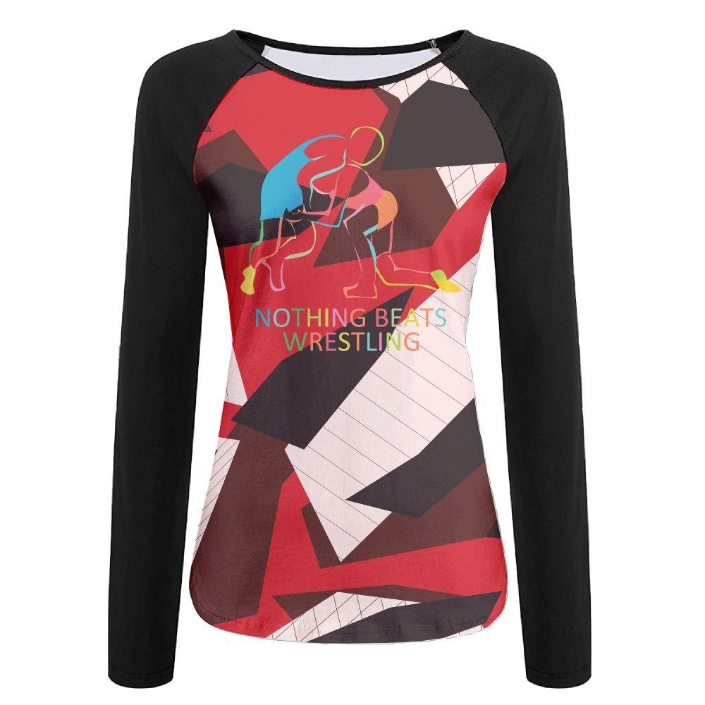 RAGLANT Nothing Beats Wrestling Women Long Raglan Sleeves Round Neck T-Shirt