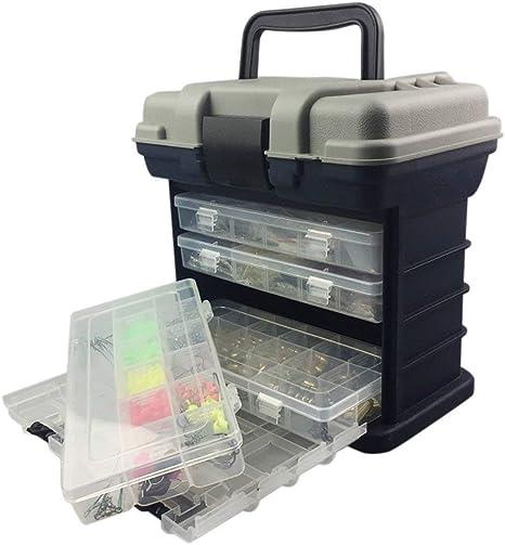 TOPIND - Caja Multifuncional portátil para Aparejos de Pesca con 4 cajones y divisores Ajustables para Guardar Herramientas de Pesca: Amazon.es: Deportes y aire libre