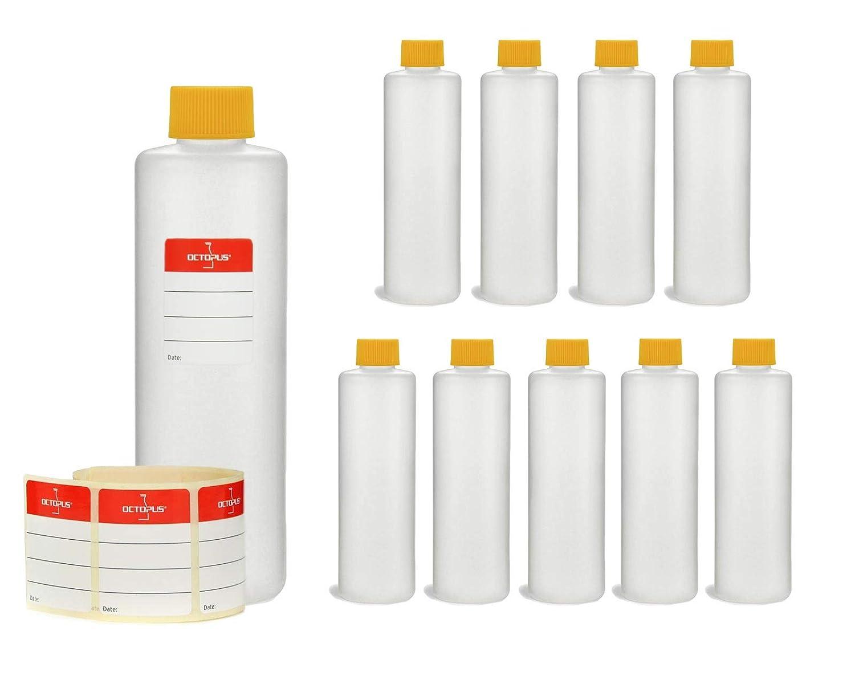 10 x 250 ml Botellas de plaste Octopus de plá stico Botellas, Botellas de plá stico, de HDPE con agarraderas amarillas, vací o botellas chemikalienresistent Botellas de plástico vacío botellas chemikalienresistent