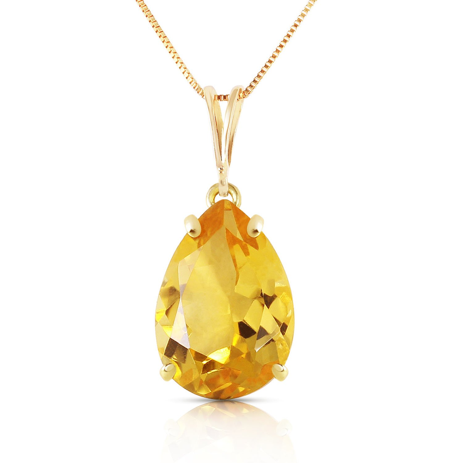14k 24'' Yellow Gold Necklace with Genuine 5 Carat Citrine Pendant