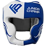 adsin Fight Prep Kids Boxing Head Guard Helmet Kick Maya Hide Leather MMA Martial Arts Kick Face UFC Fight Training Headgear for Children Red Black Blue