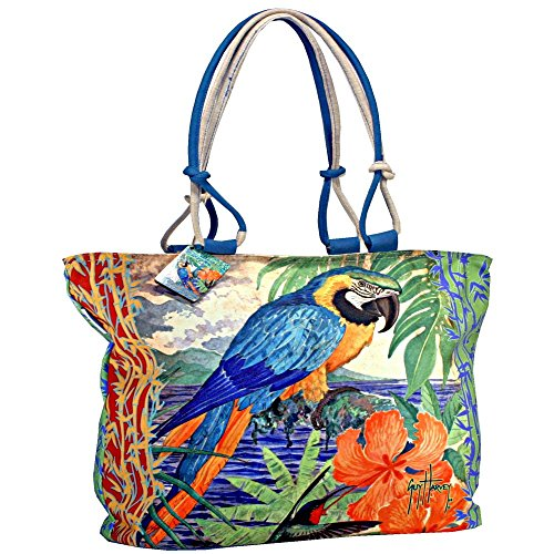 Tropical Jungle Macaw Parrot Oversized Ladies Shoulder Tote Bag