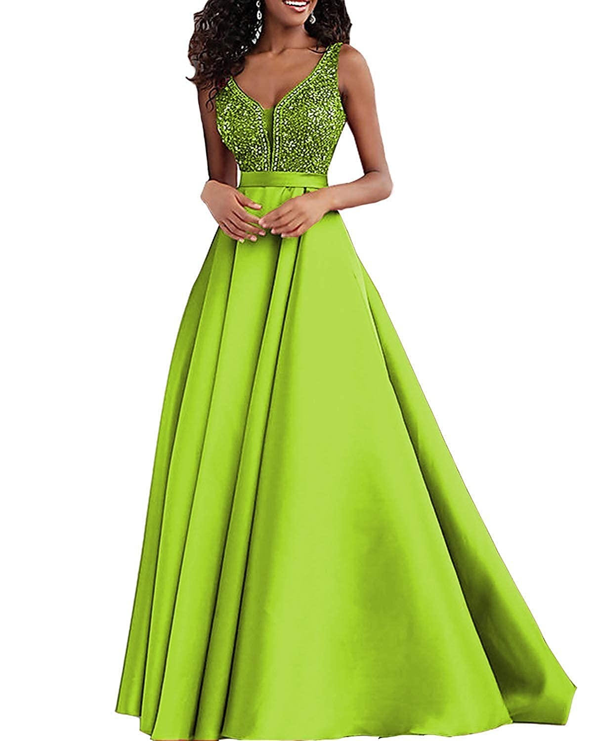 Lime Sulidi Womens Double V Neck Prom Dresses 2019 Long Beaded Formal Evening Wedding Party GownsC148