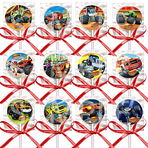 Blaze Monster Machines Lollipops Monster Truck Party Favors Supplies Decorations with Red Satin Ribbon Bows -12 Pieces Starla Zeg Stripes Darington Pickle Crusher Gabby AJ -
