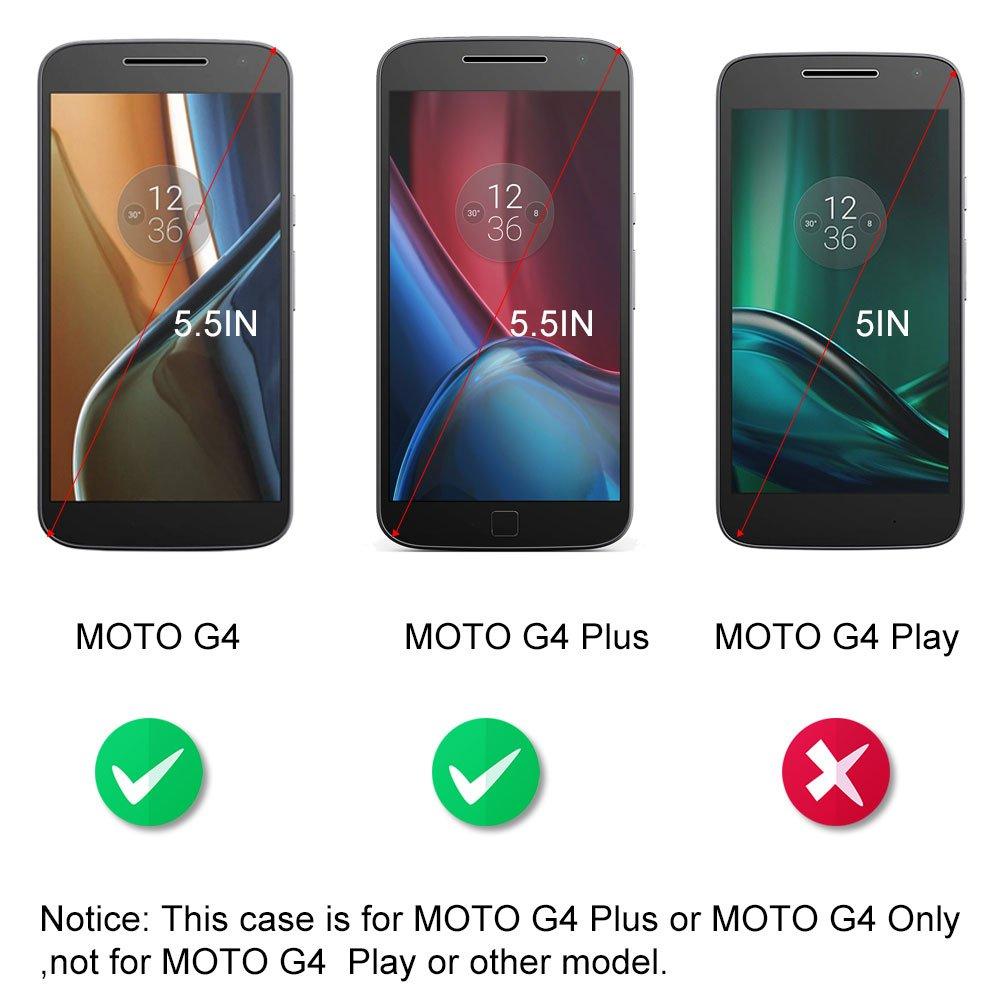 Moto G4 / G4 Plus Coque Supporter Flip PU Cuir Pochette Portefeuille Housse Coque Etui pour Motorola Moto G4 / G4 Plus avec Crédit Carte Tenant Fente Dooki A-05