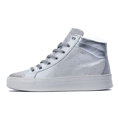 CRIME London Damen Hoxton High Top-Trainer 39 EU Bianco Perlato ... 2e67d30d7c