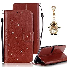 Samsung Galaxy S4 Case, Bonice Luxury Rhinestone Embossing Butterfly Pattern Premium PU Leather Flip Magnetic Snap Book Style Wallet Case [Card Slots] [Hand Strip] Multi-Function Design Cover + Diamond Dust Plug, Brown 02
