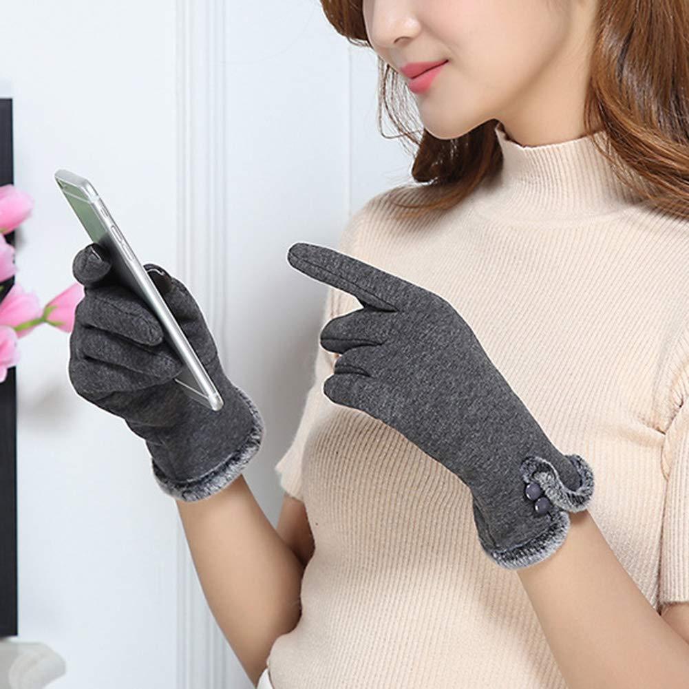 Brown Taglia Unica elegantstunning Moda Donna Inverno Caldo Elegante Guanti Peluche Guanti Touch Screen Guanti
