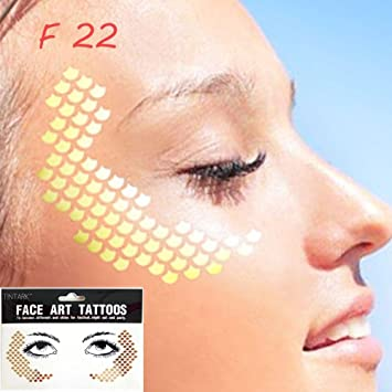 dca679a4c7c9a Amazon.com : ZHUOTOP 1Sheet Personality Disposable Freckles Makeup Tattoo  Stickers Flash Body Art Gold Face Waterproof F22# : Beauty
