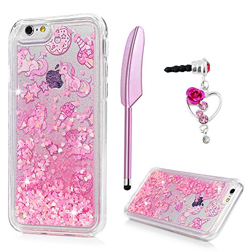 ZSTVIVA Case Cover Replacement for iPhone 6, iPhone 6S, Cute Unicorn Glitter Liquid Cover Protective Bumper Defender Skin for Pink Quicksand Bling Sparkle Shiny Flowing Love Heart TPU Layer Case