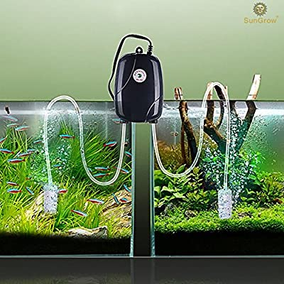 SunGrow Aquarium Air Pump Set (With 2 Air stones + 1 Silicone Tube): Power 2 Tanks: Fish Tank Aerator with Regulating Valves: Fresh & Pure Air with Efficient, Practical, High-performing Aeration Pump