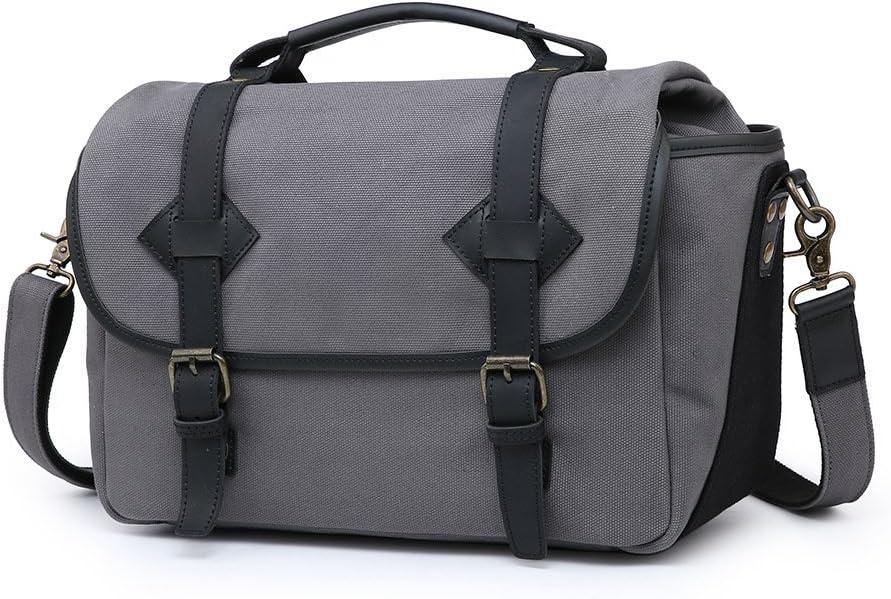 Amyannie Laptop Messenger Bag Camera Messenger Bag Men Business Briefcase Vintage Shoulder Tote Crossbody Handbag for DSLR Camera Color : Gray