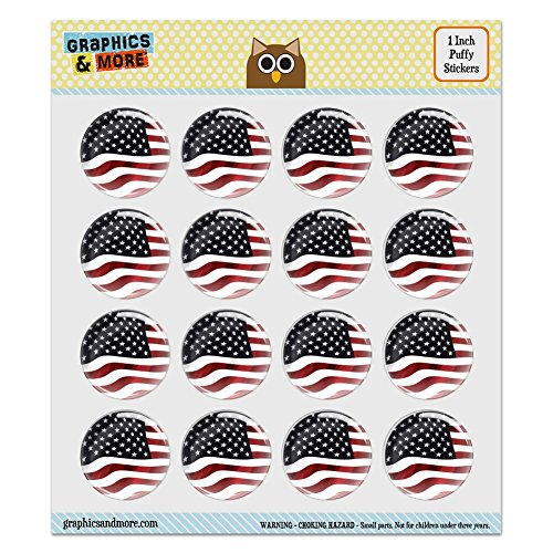 Puffy Bubble Dome Scrapbooking Crafting Stickers - US American Flag Waving United States USA - Set of 16-1.0