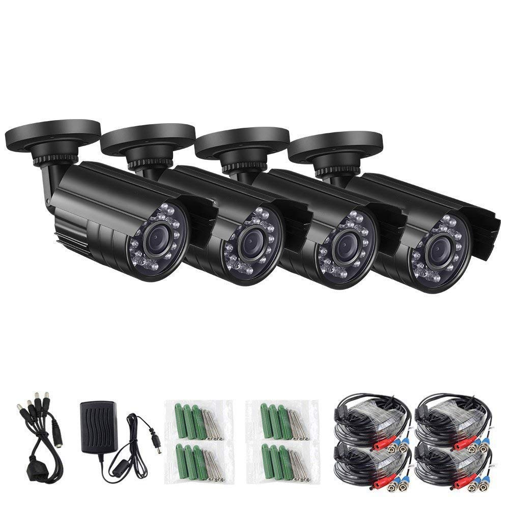 Anlink 4 Pack 900TVL 960H Outdoor Indoor 100Ft Night Vision Waterproof Security Surveillance CCTV Bullet Cameras