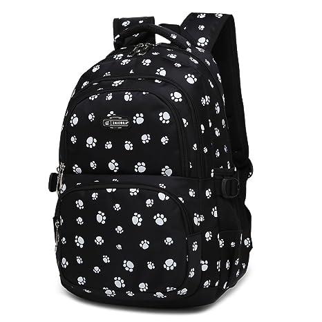 f816eb2dd Amazon.com | Dog Pawprint Cat Fingerprint Backpack for Elementary or Middle  School Girls (Black) | Kids' Backpacks