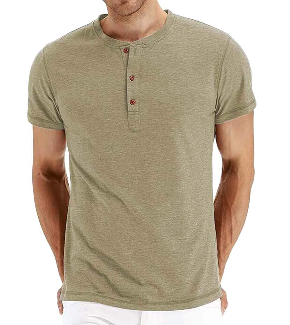 HANA+DORA Men Casual Print Round Neck Loose Short Sleeve Tshirt Top Blouse Tee