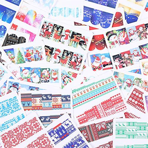 LEMOOC Nail Art Water Decals Transfer Stickers Nail Decorations Christmas Elk Snowflake Santa 36 Sheets
