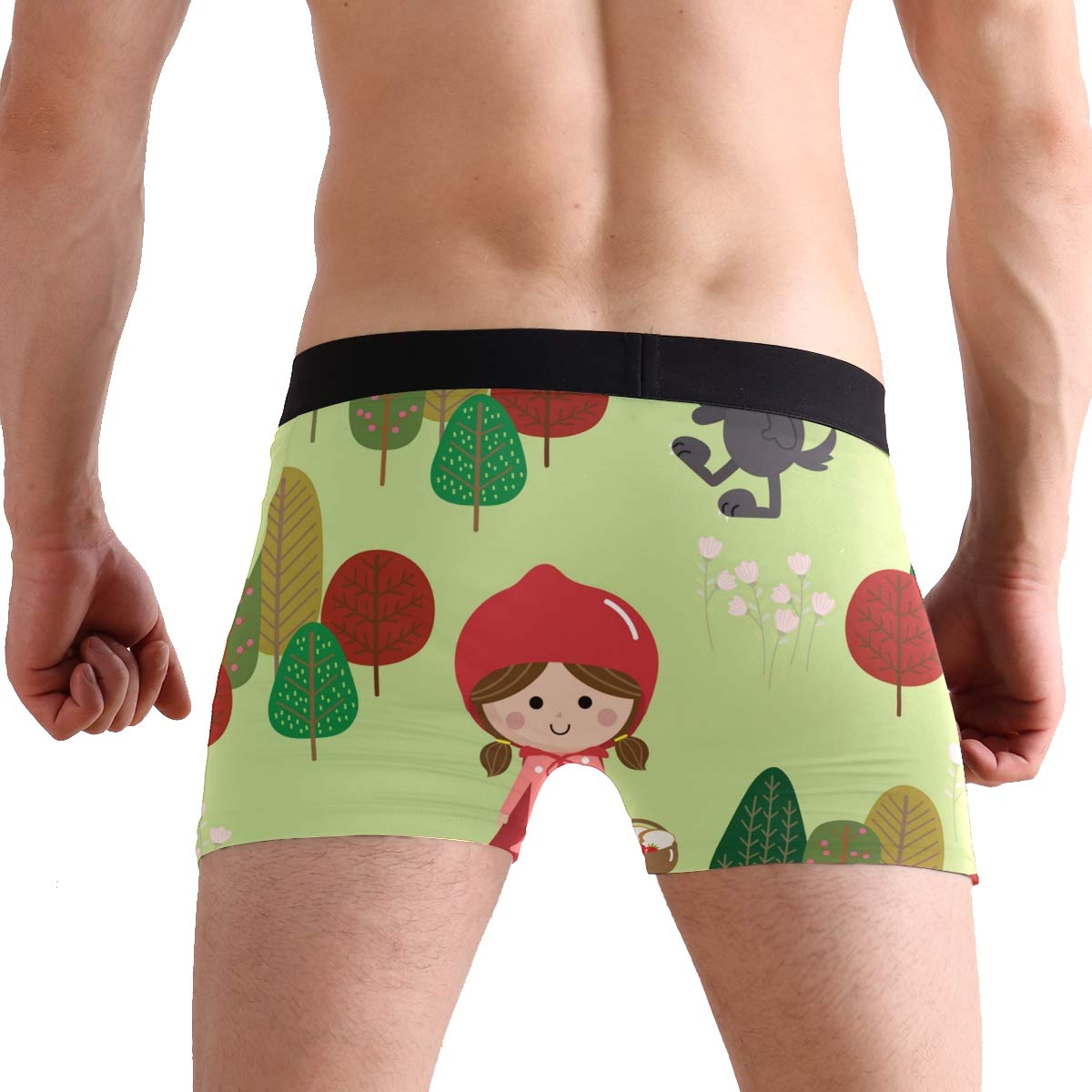 YYZZH Little Red Riding Hood and Big Wolf Tree Floral Flower Mens Boxer Briefs Man Underwear