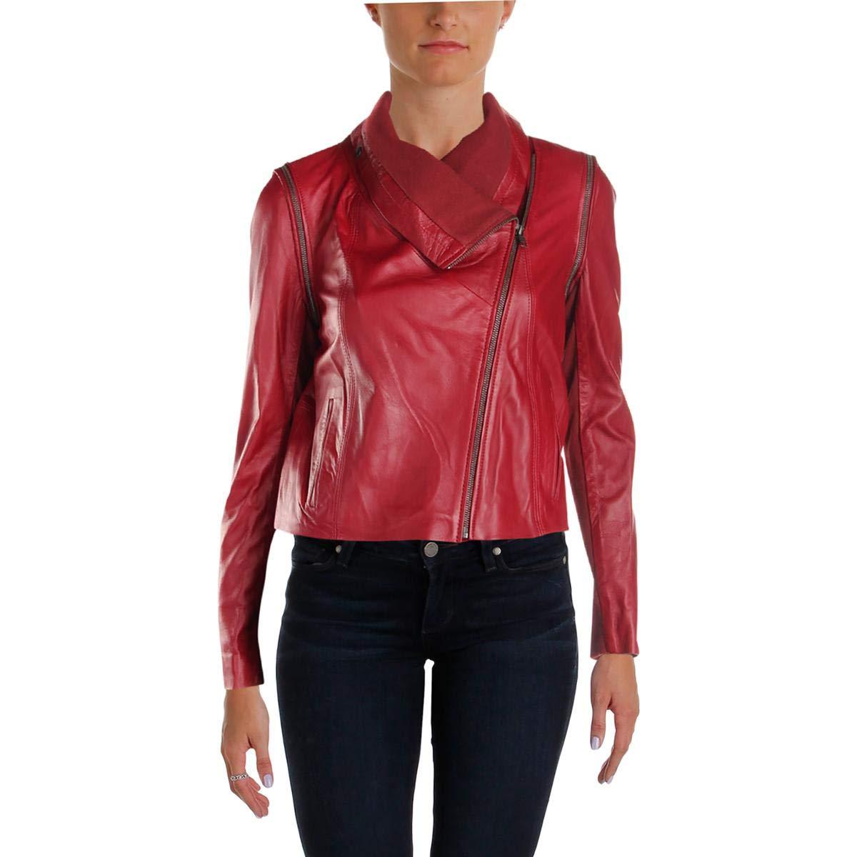 Hibscus Yigal x AQUA Womens Fall Leather Moto Coat