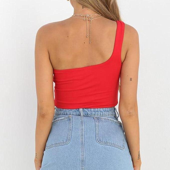 ... Hombro Sexy Mujer Camisetas Sin Manga Color Sólido Exposed Navel Prendas Crop Tops Casuales Verano blusa mujer camisas (L, Rojo): Amazon.es: Belleza