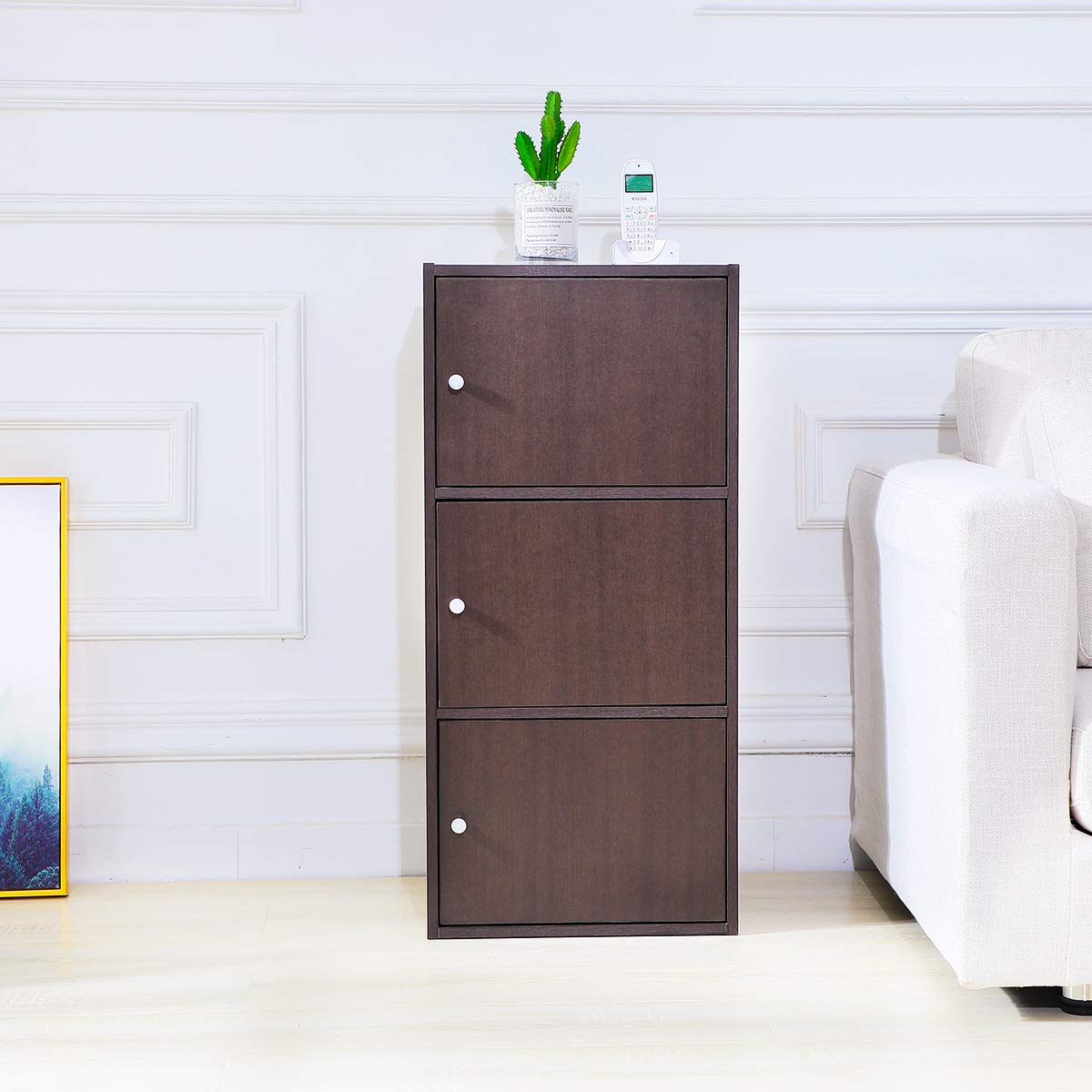 Multifunctional Storage-Cabinet with 3 Magnetic Doors Classic Modern Bookcase Home Office Vertical File Cabinets, Espresso Brown-CAS011 by Coavas (Image #7)