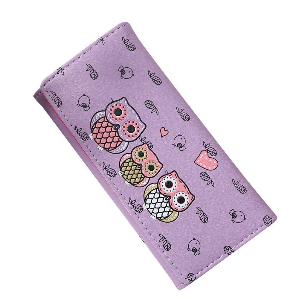 ABASSKY Women Simple Retro Owl Printing Long Wallet Coin Purse Card Holders Handbag (Purple)