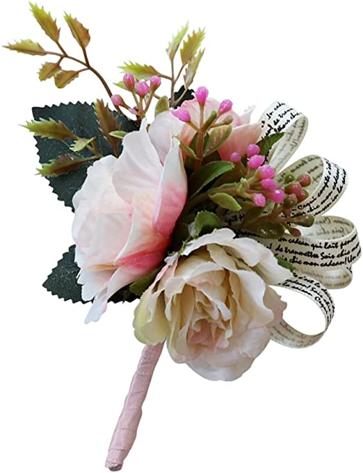Champagne Romantic Wedding Rose Flower Corsage Groom Best Man Boutonniere Party Decoration