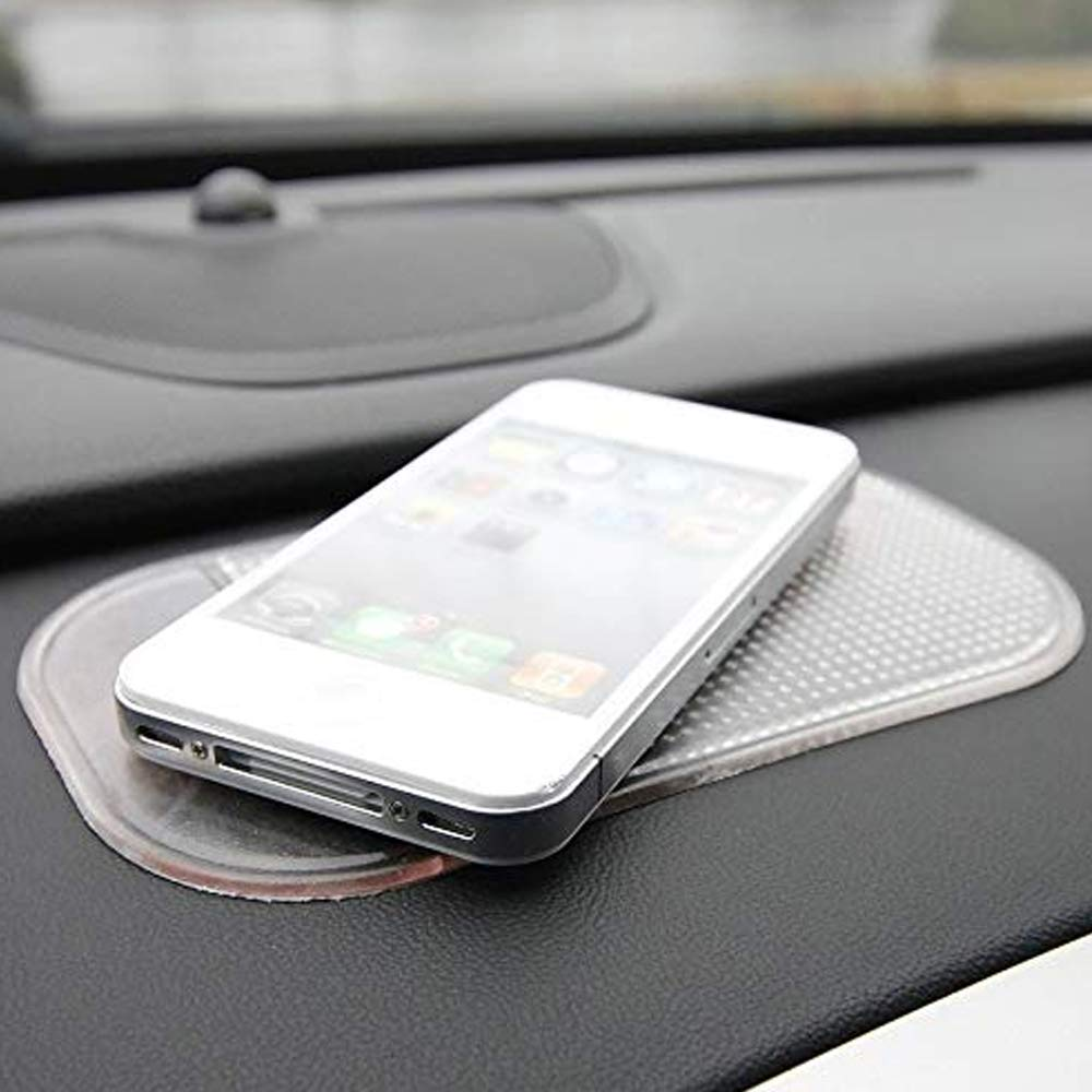 Anti- Slip Dash Board Phone Holder, Non Slip Dashboard Mat Sticky Gel Pads, Anti-Slip Dash Grip Mount Holder Mat for Cell Phone, Keys, Sunglasses, Coins, Cup in Car, Home or Office (Transparent)