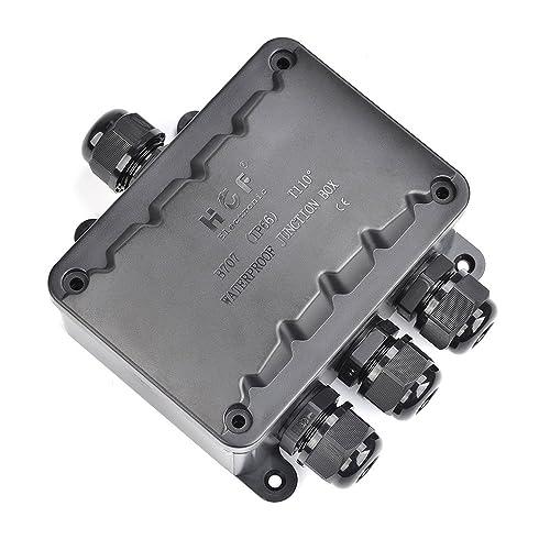 ATPWONZ Boîte de Jonction IP66 Extérieur 4 Voies Passe-câble Connecteur M16 Boîte de Jonction de Câble Ø 5 mm - 10 mm (Noir)