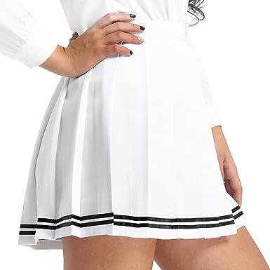 4782430c38329f inlzdz Femme Fille Mini Jupe Plissée Uniforme Scolaire Déguisement  Etudiante Japonais Midi Jupe Fille Midi Jupe Courte Evasée Jupe de Patinage  Jupe ...