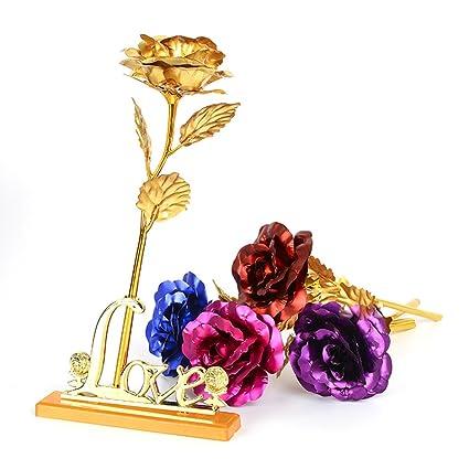 flor de rosa artificial con soporte de exhibición en caja de regalo ...