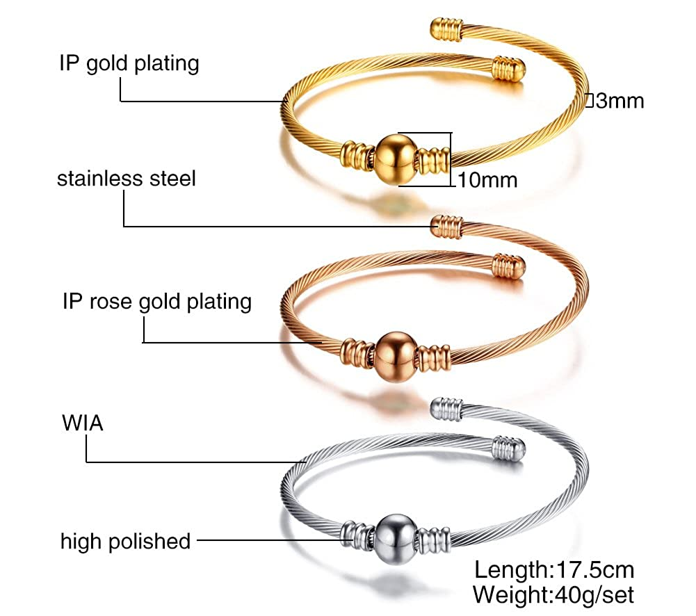 ed0cb0a84ce Amazon.com: Mealguet Jewelry Fashion Stainless Steel Triple Three Stackable Cable  Wire Twisted Cuff Bangle Bracelets Set for Women (Style 4): Jewelry