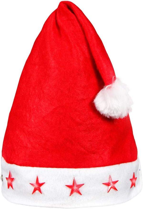 pompon bordure en blanc wm-15 Bonnet de P/ère No/ël lumineux Taille unique pour adultes Homme femme convenable aussi pour ados lumineux avec 5 /étoiles /à LED clignotante En feutrine rouge toute douce