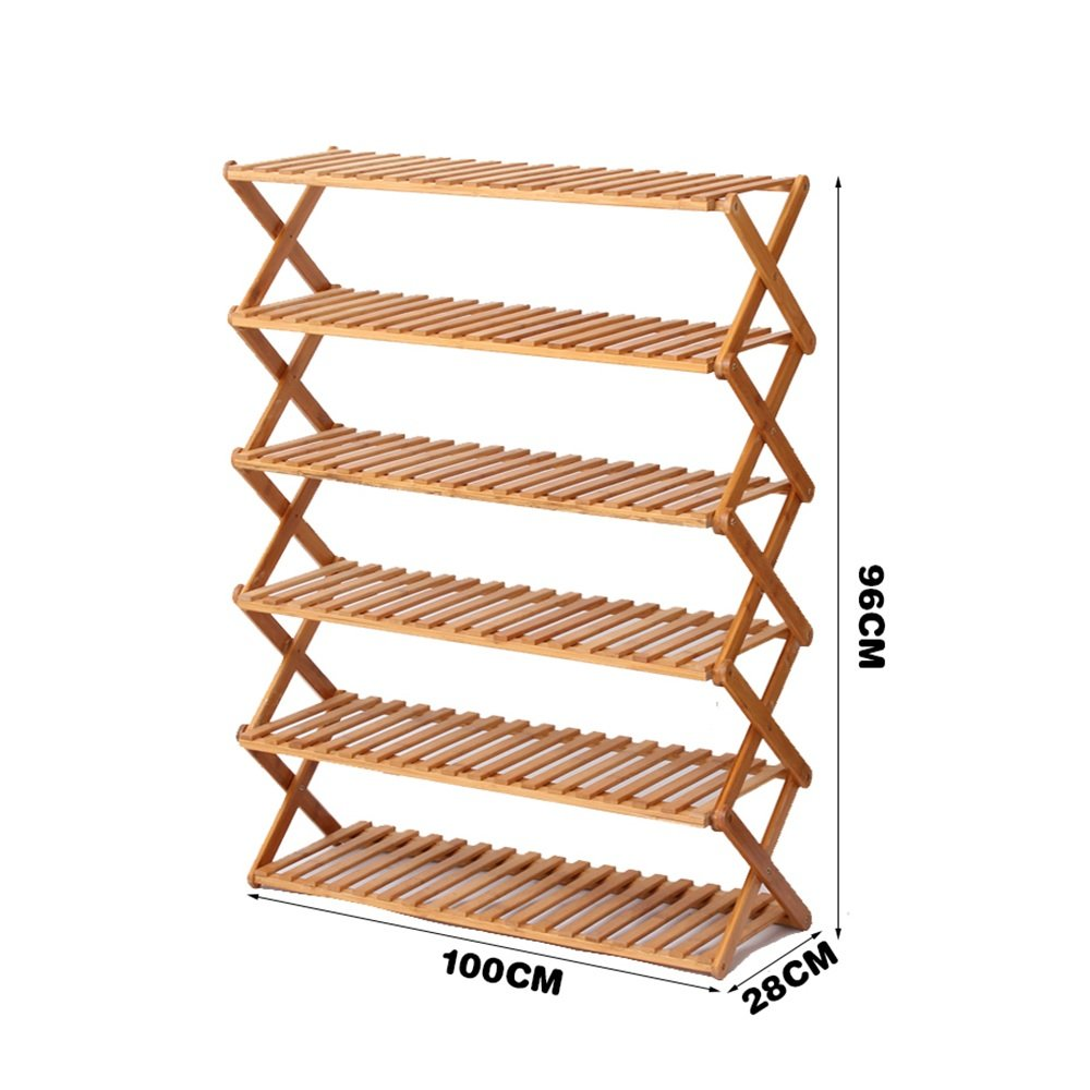 YNN 6層靴ラック竹単純な多層靴多機能防塵木の折り畳み家庭用靴ラックラック (サイズ さいず : 100*96cm) B07DXKC6QY100*96cm