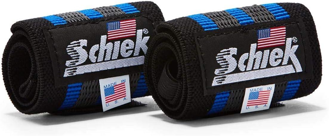 """Schiek Sports Blue Line Heavy Duty Rubber Reinforced Wrist Wraps -18""""-Black/Blue : Sports & Outdoors"""