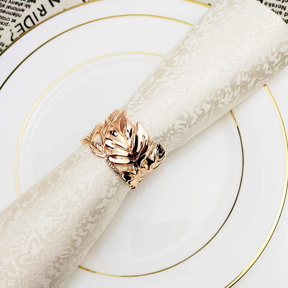 Amasstu Napkin Rings Set of 6 Weddings Electroplating Process Hollow-Carved Design Leaf Napkin Buckle for Table Decoration Dinner Parties Special Events and Catering Services