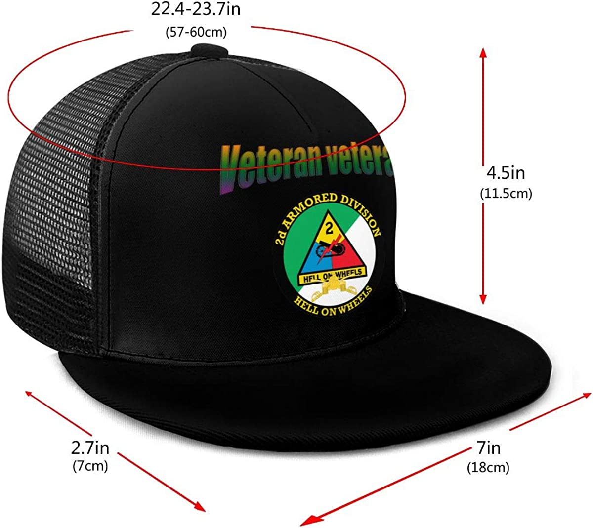 Army 2nd Armored Division Badge Classic Grid Hop Flat Along Baseball Hat Snapback Unisex Caps Adjustable