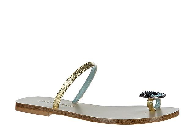 Chiara Ferragni Damen Leder Sandalen Sandaletten Gold