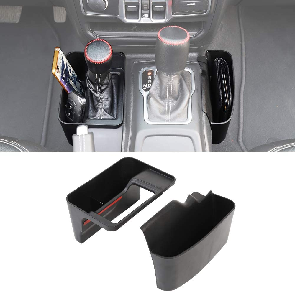 Armrest Gear Shift Box Side Storage Box Auto Transmission Side Organizer Tray Compatible with 2018 2019 Jeep Wrangler JL 2020 JL
