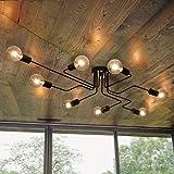 Lingkai Industrial Ceiling Light Vintage Chandelier Metal Pendant Light Creative Retro 8-Light Chandelier Lighting Fixture (B
