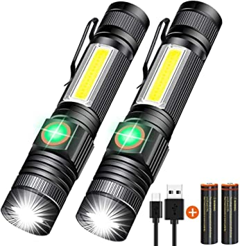 LED COB Rechargeable Flashlight Blacklight Lamp Camping Torch Inspection Light