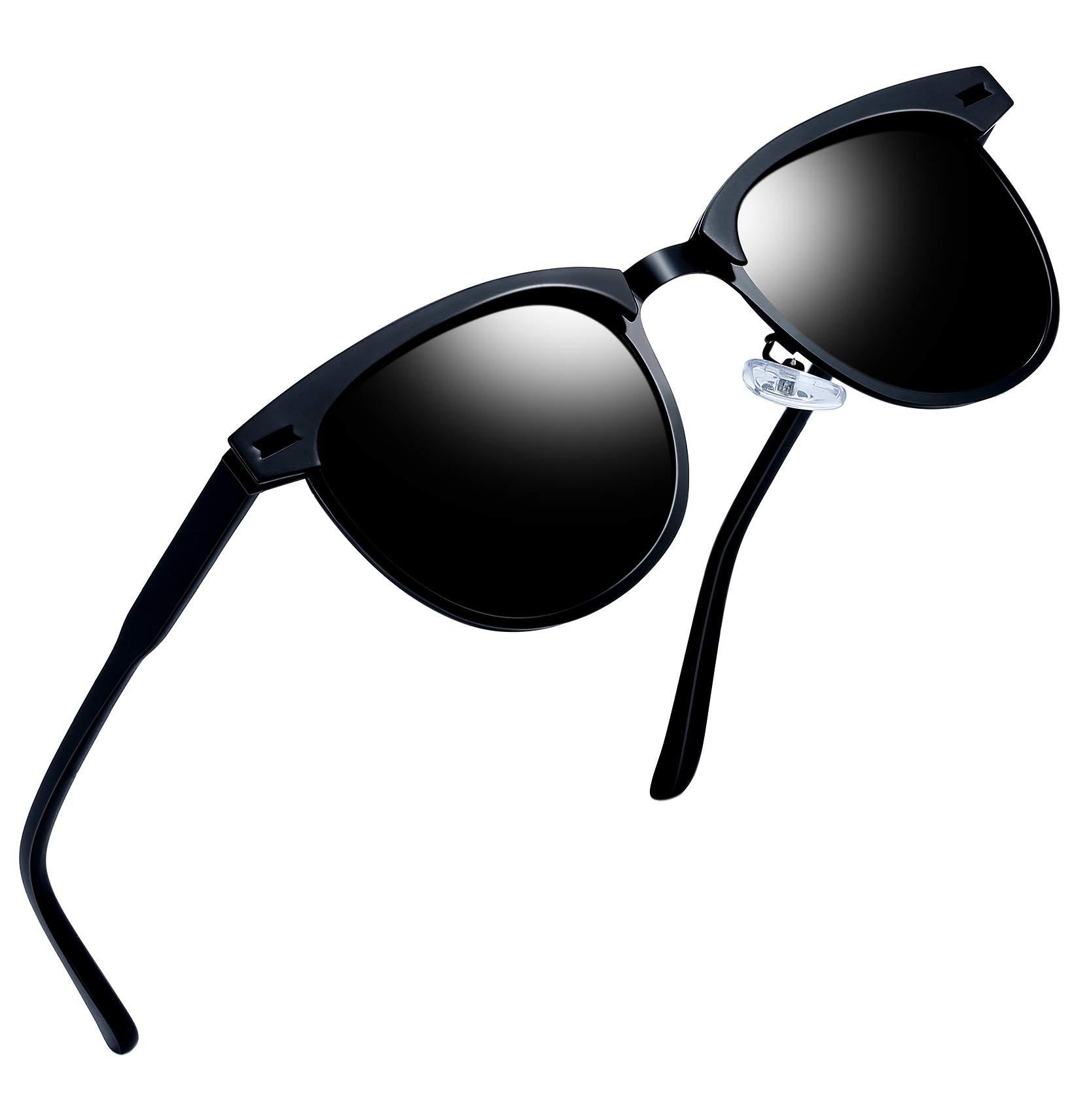 Joopin Semi Rimless Polarized Sunglasses Women Men Retro Brand Sun Glasses (Black Metal) by Joopin
